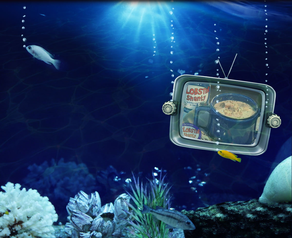 Television underwater with fish